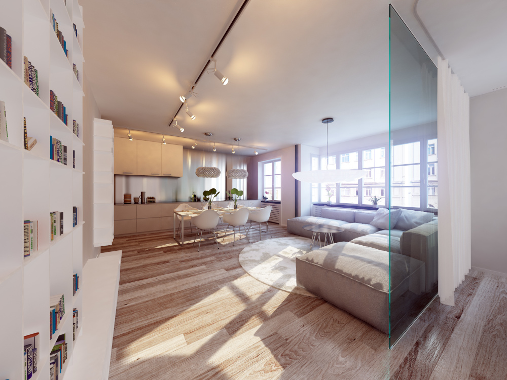 urzadzone mieszkanie kuchnia i salon